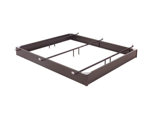 """Pedestal 1060 Bed Base with 10"""" Brown Steel Frame and Center Cross Tube Support, Hotel King"""