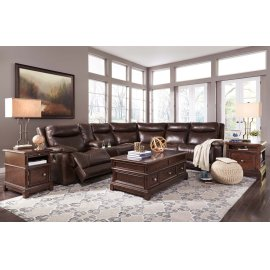 Zaiden 6-Pc Sectional LAF Zero Wall Recliner w/ Console, Armless Chairs, Wedge, and RAF Recliner - Antique Collection