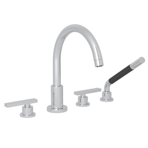 Polished Chrome Pirellone 4-Hole Deck Mount Tub Filler With Handshower with Metal Lever