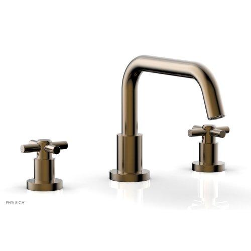 BASIC Deck Tub Set - Tubular Cross Handles D1136D - Antique Brass