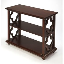 With its open quatrefoil sides, two shelves and open back, this timeless, classic bookcase brings heirloom appeal to the office or living room. Features an inviting Plantation Cherry finish.