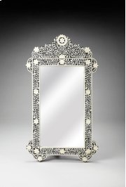 This magnificent Wall Mirror features sophisticated artistry and consummate craftsmanship. The botanic patterns covering the piece are created from white bone inlays cut and individually applied in a sea of black by the hands of a skillful artisan. No two Product Image