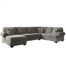 Signature Design by Ashley Jinllingsly 3-Piece Right Side Facing Sofa Sectional in Gray Corduroy