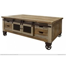 Cocktail Table, 4 Doors, 8 Drawers