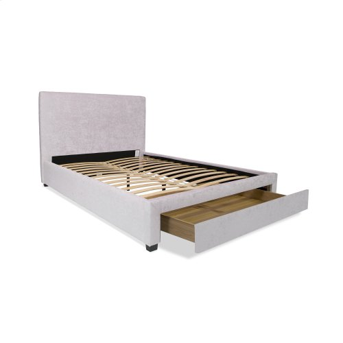 Inverness Complete Upholstered Storage Bed and Bedding Support System with 64-Inch Wide Footboard Drawer, Alabaster Finish, California King