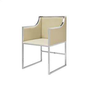 """Worlds AwayHerringbone Vinyl Dining & Occasional Chair With Nickel Frame. Seat Height: 20"""" Arm Height: 28"""""""