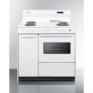 "SummitDeluxe 220v White Electric Range With Clock/timer and Oven With Light In 36"" Width"