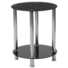 Black Glass End Table with Shelves and Stainless Steel Frame