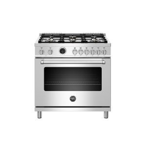 Bertazzoni36 inch Dual Fuel Range, 6 Brass Burners, Electric Self-Clean Oven Stainless