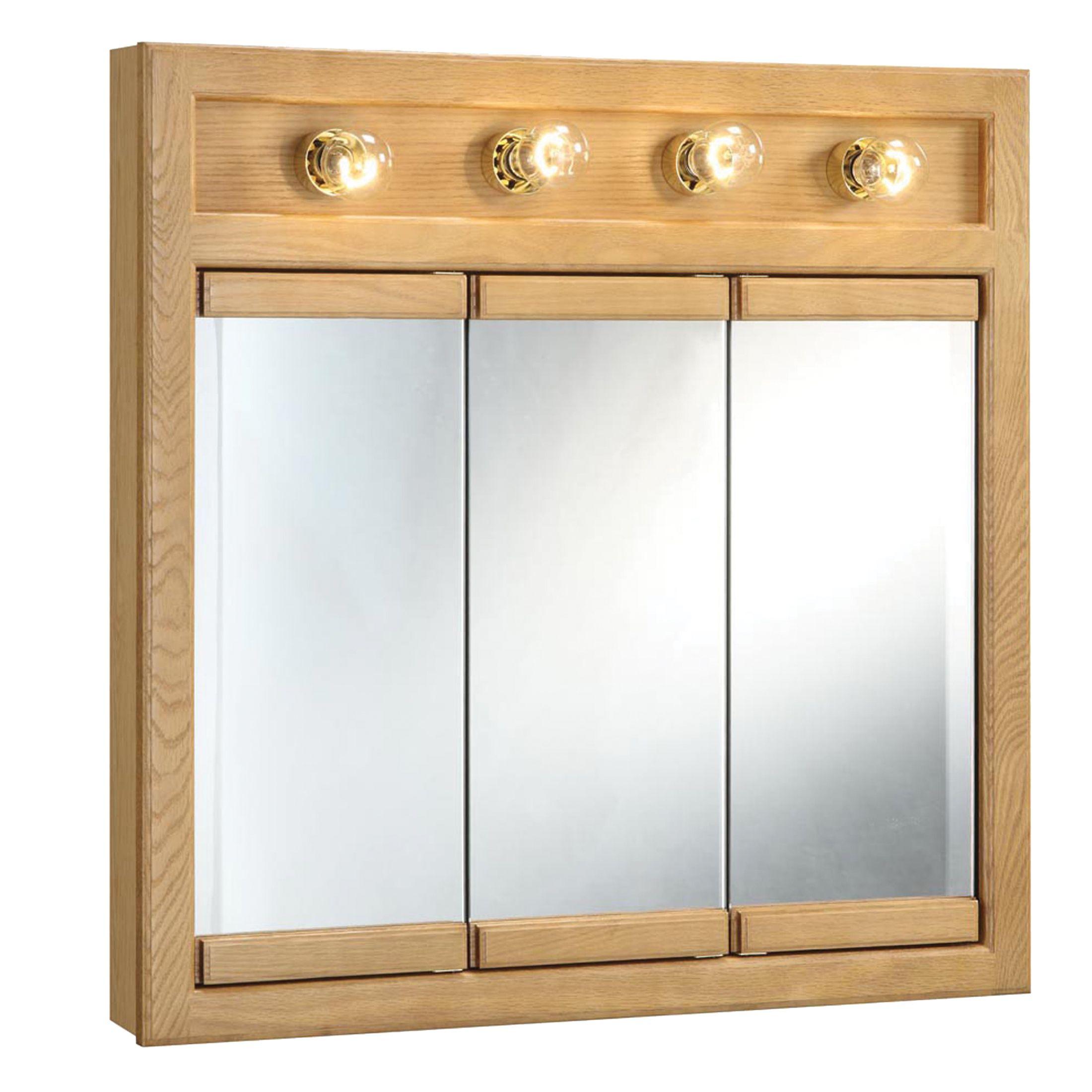 "Richland 4-Light Tri-View Wall Cabinet 30"", Nutmeg Oak #530600"
