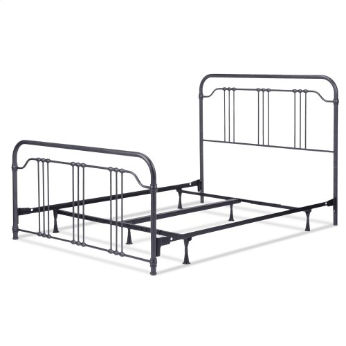 Wellesly Complete Metal Bed and Steel Support Frame with Straight Spindles and Intricately Designed Casters, Marbled Navy Finish, Queen
