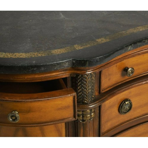 Selected solid woods, choice veneers and resin components, hand carved details. Top is black fossil stone with snake skin fossil stone insert. Six drawers and two doors with antique brass plated hardware.