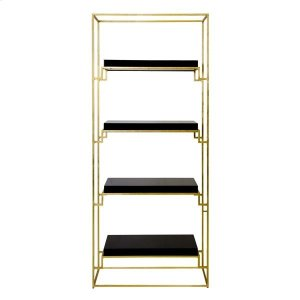 Worlds Away Gold Leaf Etagere With Black Lacquer Shelves