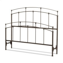 Fenton Bed with Metal Duo Panels and Globe Finials, Black Walnut Finish, Full