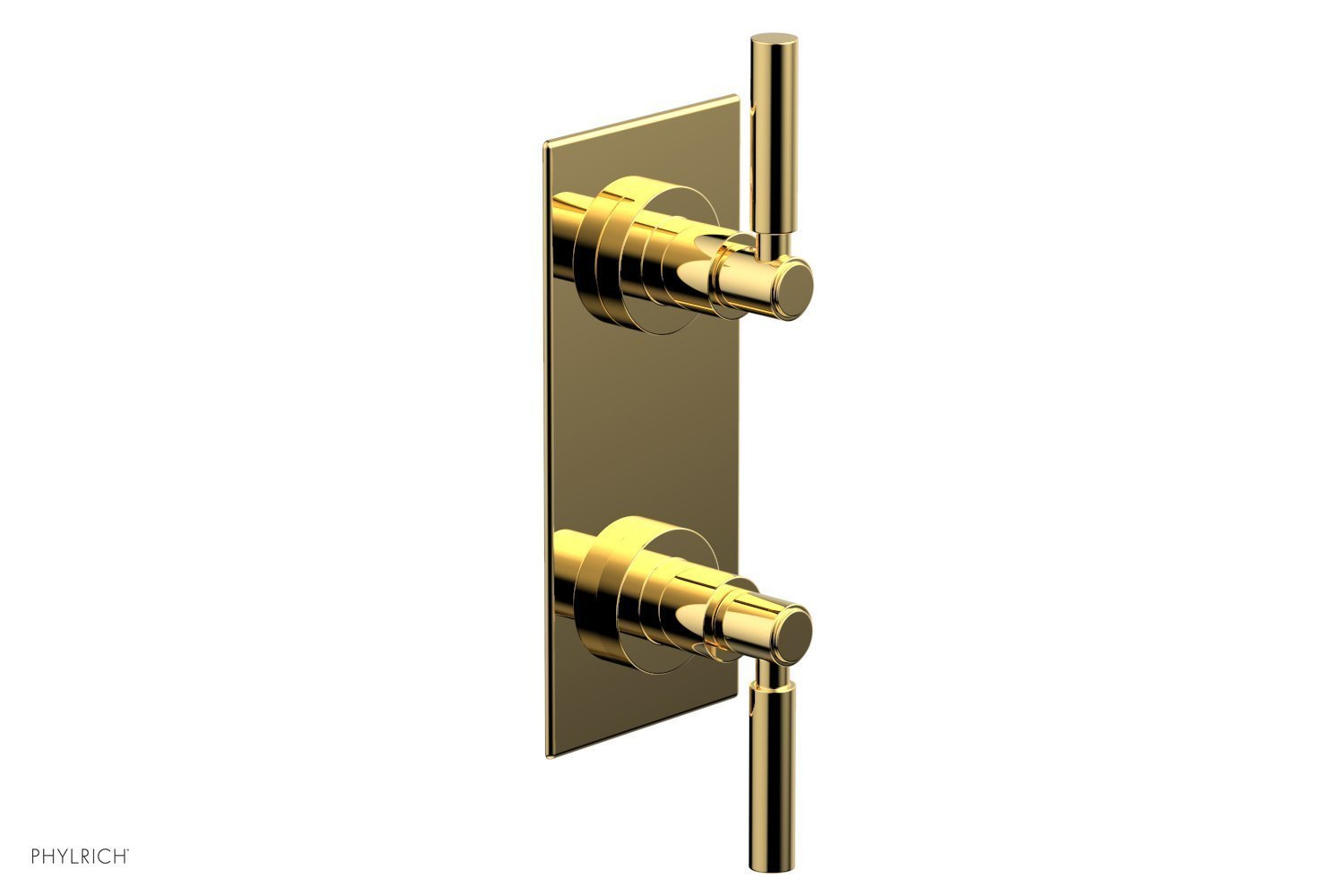 """BASIC 1/2"""" Thermostatic Valve with Volume Control or Diverter Lever Handles 4-344 - Polished Gold"""