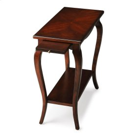 This graceful chairside table will look perfect next to almost any piece of furniture in a rich Plantation Cherry finish. Carefully crafted from hardwood solids and wood products, its cherry veneer top is a convenient surface to set down a glass or book w