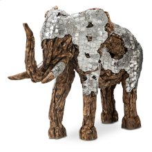 Wood Crafted Elephant W/aluminum, Medium