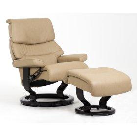 Stressless Capri Small Classic Base Chair and Ottoman