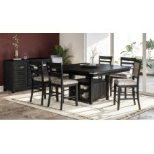 Altamonte Square Counter Height Dining Table With Four Ladderback Stools - Dark Charcoal
