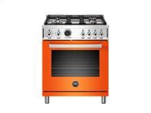 30 inch Dual Fuel Range, 4 Brass Burner, Electric Self-Clean Oven Orange