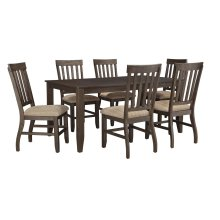 Dresbar - Grayish Brown 7 Piece Dining Room Set