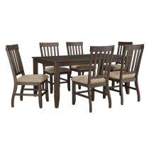 Dresbar - Grayish Brown 7 Piece Dining Room Set