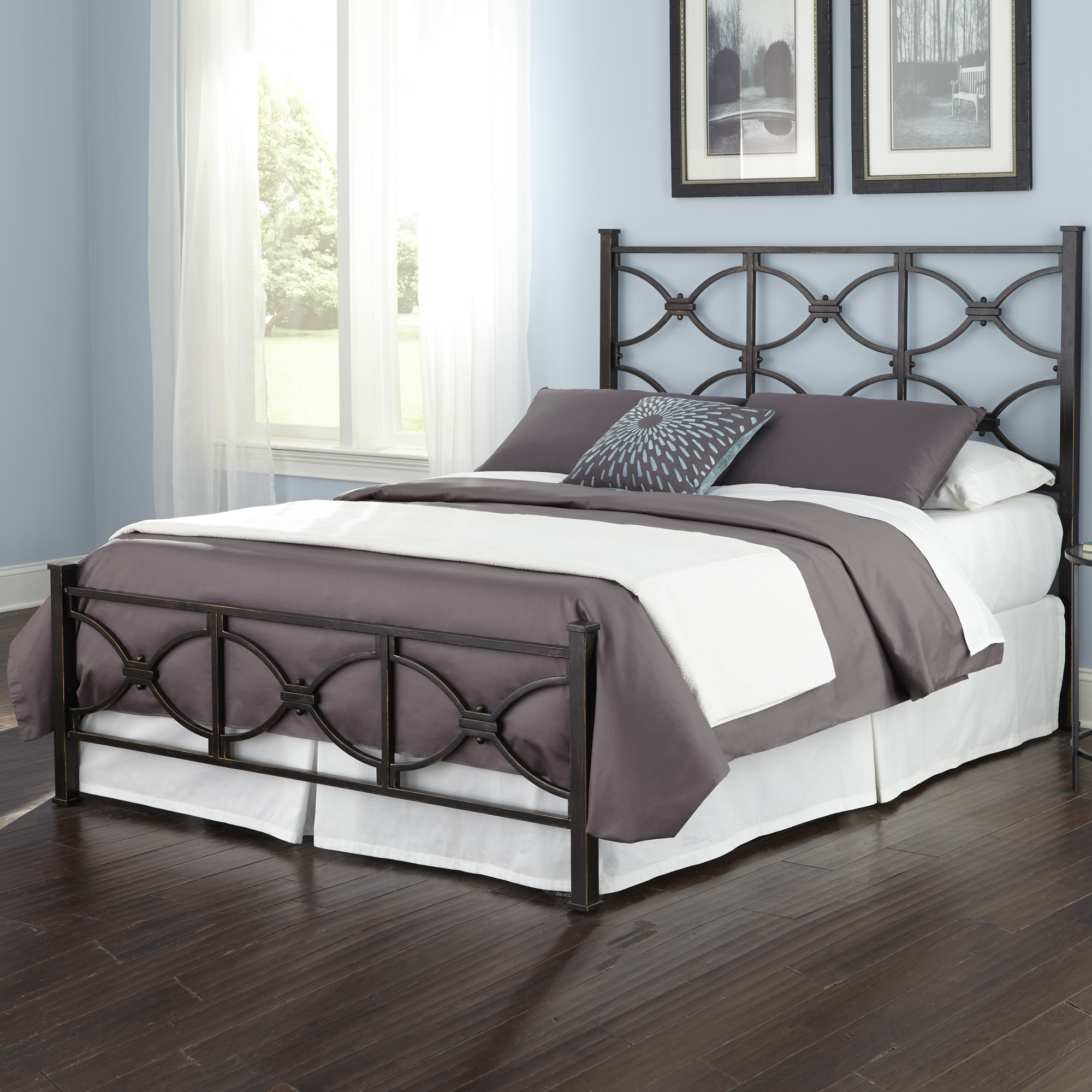 Marlo Complete Bed With Metal Panels And Squared Finial Posts, Burnished  Black Finish, California