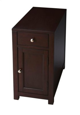 Selected solid woods, wood products and choice veneers. Birch veneer top, sides, drawer front and door panel. Brushed nickel finished metal hardware.