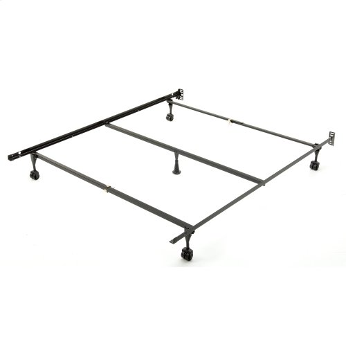 Sentry PC78/60-5R Adjustable Bed Frame with Center Support Bar and (5) Rug Roller / Glide Legs, Powder Coat Finish, Full - Queen