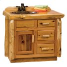 Cedar Vanity - 3' with Slab Style Top with Liquid Glass Finish - Sink Left Product Image