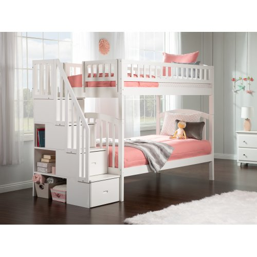 Westbrook Staircase Bunk Bed Twin over Twin in White