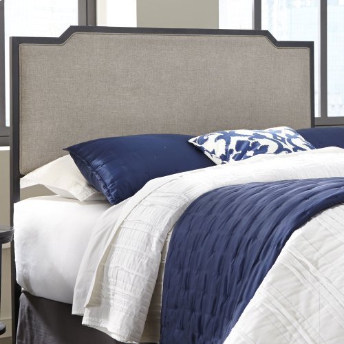 Bayview Metal Headboard Panel with Gray Sand Upholstery, Black Pearl Finish, King