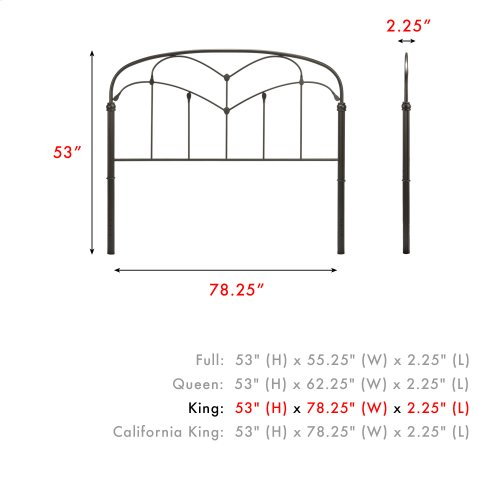 Pomona Metal Headboard Panel with Curved Grills and Detailed Posts, Hazelnut Finish, King