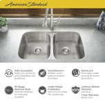 "American StandardPortsmouth 32x18"" ADA Double Bowl Stainless Steel Kitchen Sink  American Standard - Stainless Steel"