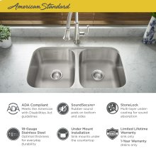 """Portsmouth 32x18"""" ADA Double Bowl Stainless Steel Kitchen Sink  American Standard - Stainless Steel"""