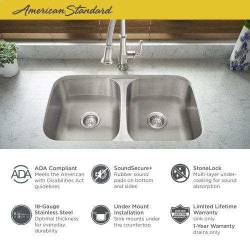 "Portsmouth 32x18"" ADA Double Bowl Stainless Steel Kitchen Sink  American Standard - Stainless Steel"