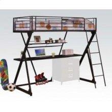 Black Loft Bed W/desk , Shelf