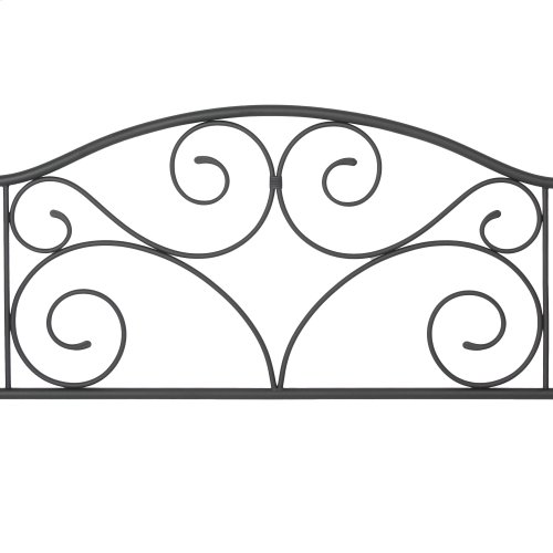 Doral Complete Metal Bed and Steel Support Frame with Decorative Scrollwork and Walnut Colored Wood Finial Posts, Matte Black Finish, King
