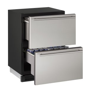 "U-Line1000 Series 24"" Solid Refrigerator Drawers With Stainless Solid Finish and Drawers Door Swing (115 Volts / 60 Hz)"