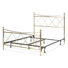 Lennox Complete Metal Bed and Steel Support Frame with Diamond Pattern Design and Downward Sloping Top Rails, Classic Brass Finish, Queen