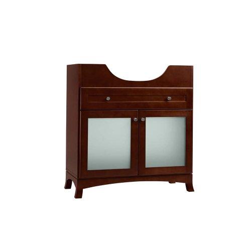 "Adara 31"" Space Saver Bathroom Vanity Cabinet Base in Dark Cherry - Frosted Glass"