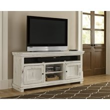 "64"" Console - Distressed White Finish"