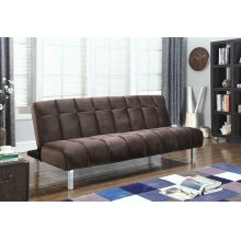 Contemporary Brown and Chrome Sofa Bed