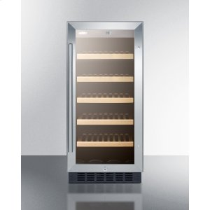 """Summit15"""" Wide ADA Compliant Wine Cellar for Built-in or Freestanding Use, With Digital Controls, Front Lock, LED Lighting, and Stainless Steel Wrapped Cabinet"""