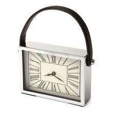 This desk clock is crafted in an delightful square shape that features Roman numerals over a white face, and a sturdy handle. The clock can be placed on any table or shelves , blends with a variety of decor. Makes a great gift.