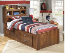 Twin Bookcase Headboard with Under Bed Storage w/Side Rail