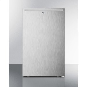 """SummitCommercially Listed 20"""" Wide Counter Height All-freezer, -20 C Capable With A Lock, Stainless Steel Door, Horizontal Handle and White Cabinet"""