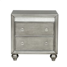 Silver Luxe Mirror Trim 2 Drawer Nightstand