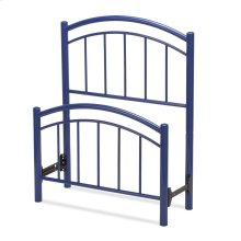 Rylan Fashion Kids Metal Headboard and Footboard Bed Panels with Gently Arced Top Rails and Vertical Spindles, Cadet Blue Finish, Full