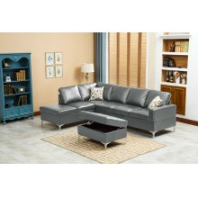 Maya Gray Sectional with Storage Ottoman
